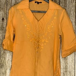 Linen- Style Bohemian Shirt w/ Embroidered Details